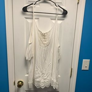 Tops - White Cold Shoulder Top